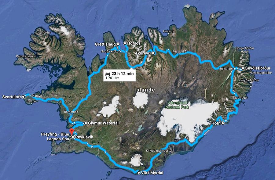 itinéraire roadtrip islande