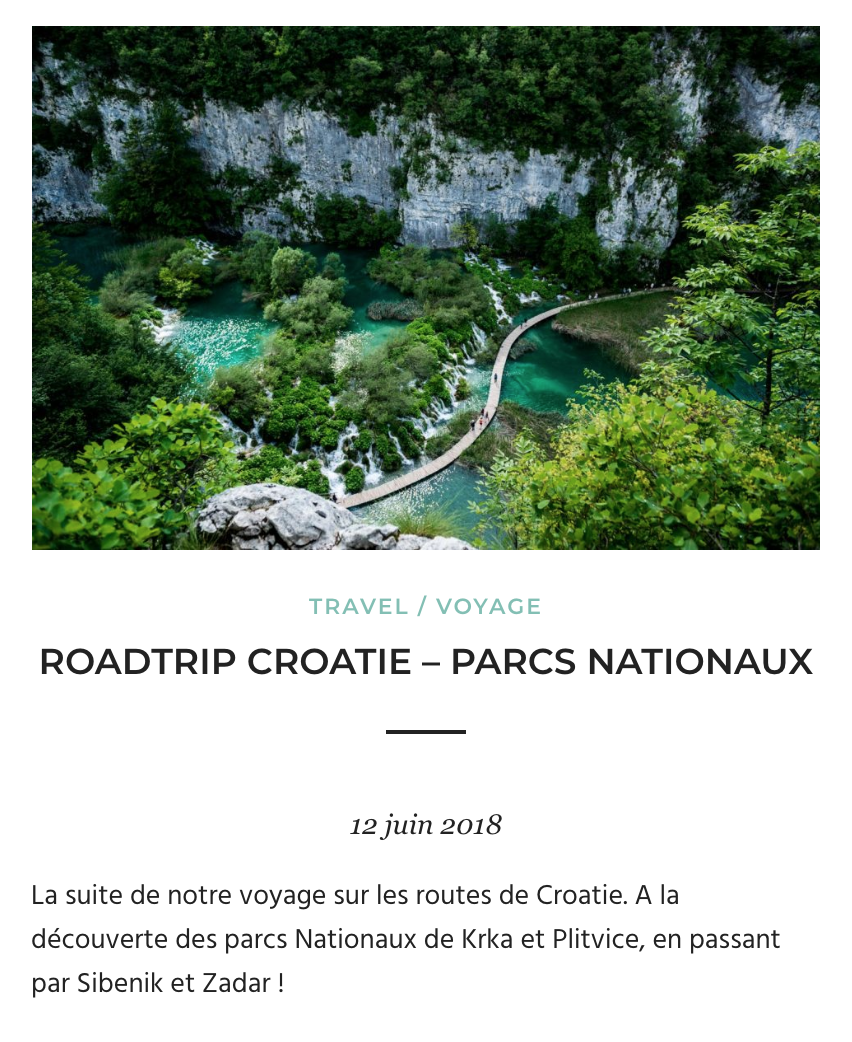 Roadtrip Croatie - Parcs Nationaux