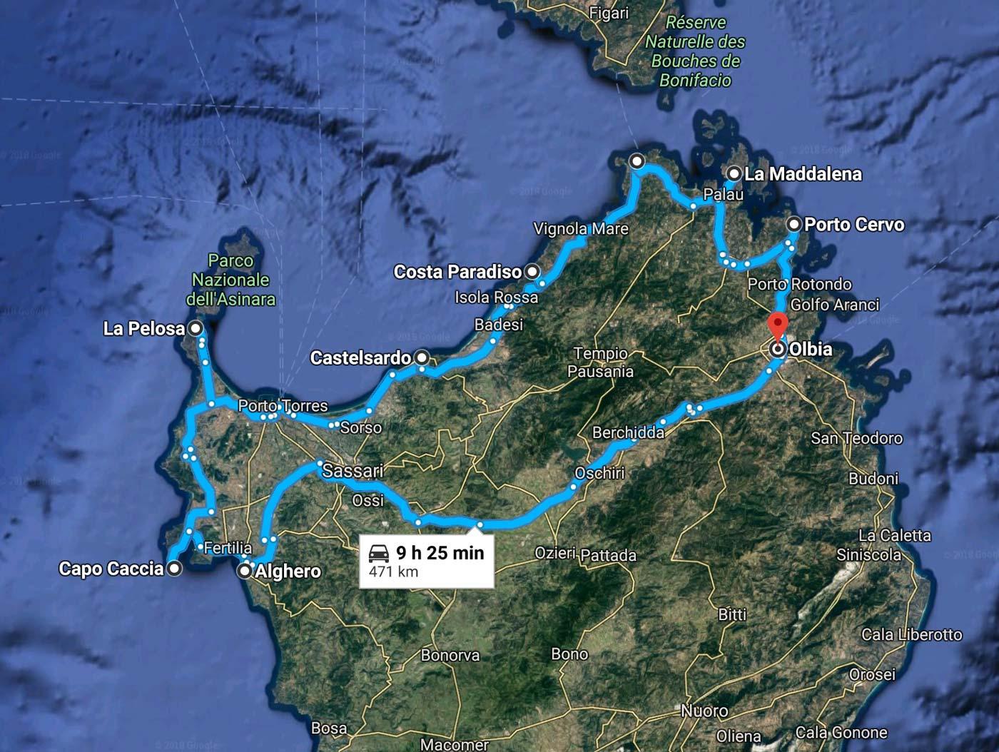Road Trip Itinéraire Nord Sardaigne
