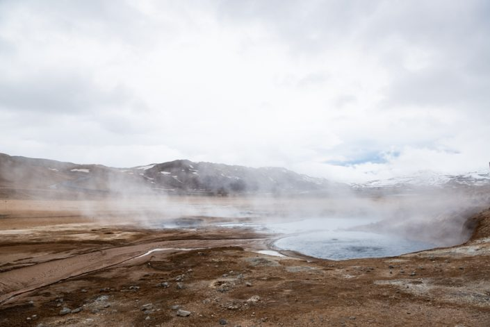 Hverir volcans fumé