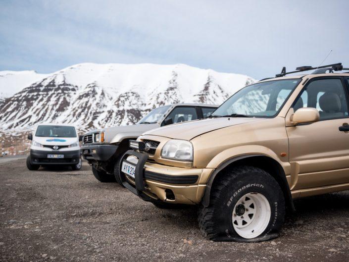 pneus creuvé en islande